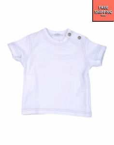 BEBEBO T-Shirt Top Size 6M Stretch White Short Sleeve Made in Italy
