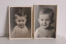 2 Portraits d'enfants photos anciennes Années 30 40 Format 11,5 X 17 cm