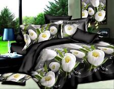 H 3D Bedding Sets Flower Printing Duvet Cover Bedsheet Pillowcase Queen Size 4pc