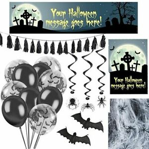 Personalised Halloween Decoration Party Pack - Banner Poster Balloons Tassels