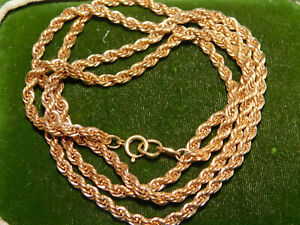 """14k Yellow Gold filled Heavy 4mm  Rope link Chain 24"""" Hip Hop Necklace 11f 100"""