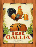 """TIN SIGN """"Biere Gallia"""" Beer Chicken Rooster Bar French Wall Decor"""