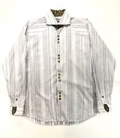 Bogosse White Embroidered Long Sleeve Men's Shirt 4 Large French Cuffs