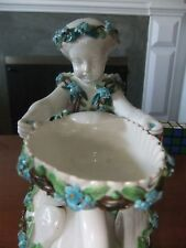 New listing Porcelain Figural Group of a Garland Decorated Putto Holding Shell on Swan - vtg