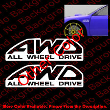 2 pcs x AWD ALL WHEEL DRIVE Vinyl Decal Car Window Subie WRX Off Road 4x4 RC025
