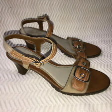 Fioni Wedge Heels Open Toe Buckle Brown Sandals Leather Upper Womans 8 1/2 W