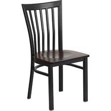 Series Black School House Back Metal Restaurant Chair - Walnut Wood Seat