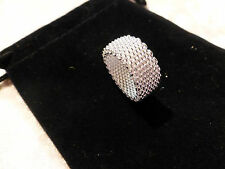 Fashionable Unisex Silver Plated Mesh Weave Ring Size Q / 8 & Free Gift Bag