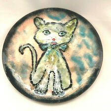 Vintage Copper Enamal Hand Made Cat Plate 1962