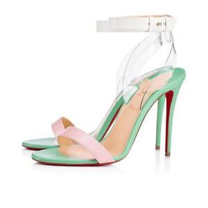 NIB Christian Louboutin Jonatina 100 Opal PVC Ankle Strap Sandal Heel Pump 37.5