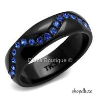 WOMEN'S ROUND CUT CZ BLACK STAINLESS STEEL ETERNITY RING BAND SIZE 5-10