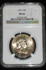 1954 MS 66 Rainbow Toned NGC Certified Uncirculated Franklin Silver Half Dollar