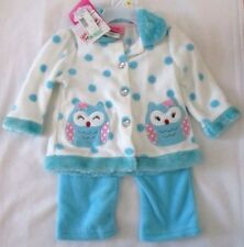 Young Hearts Girls 12 months Blue Fleece 2 Pc Outfit Owls Heart Rhinestone New