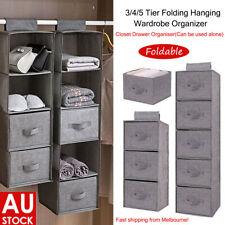 3/4/5 Layers Hanging Wardrobe Organizer Folding Storage Boxes Clothes Shoes Tidy
