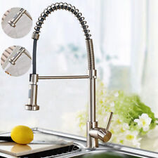 Brushed Nickel Swivel Kitchen Sink Faucet Tall Pull Down Spray 1 Hole Mixer Tap