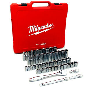"Milwaukee 56pce 3/8"" Drive Ratchet & Socket SAE (Imperial) & Metric Set 48229008"