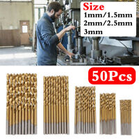 50 Pcs 1-3mm High Speed Drill Bit Set Titanium Coated HSS Steel Hex Shank Tool