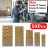 50 Pcs 1-3mm High Speed Drill Bit Set Titanium Coated HSS Steel Hex Shank Tool