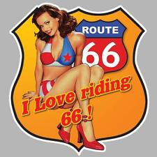 autocollant PINUP ROUTE ROAD 66  120mmX110mm AUTO MOTO BIKER US