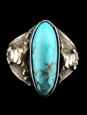 Antique Old Pawn Navajo 14K Gold and Turquoise Ring Size 6.5 *TB413