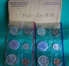 1959 SILVER US Mint Uncirculated P and D 10 Coin with Franklin 50c and Envelope