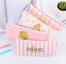 Pink Canvas Pencil Case Storage Pen Bag Stationery Cosmetic Makeup Purses Pouch