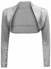 Womens Plain Shrug Long Sleeves Cropped Bolero Top Ladies Cardigan  Size 8-26