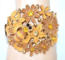 PULSERA bronce ámbar dorad rigida mujer cristales brazalete flores esmalte NVA