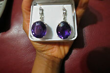 Huge Estate Designer Flawless Natural 55.6 ct Amethyst Diamond 14k Gold earrings