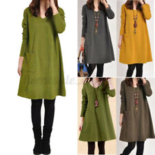 US STOCK Women Casual Pocket Tunic Tops Loose Mini Sweatshirt Dress Pullover NEW