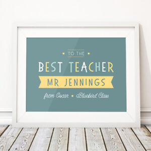 Best Teacher Thank You Gift Personalised Print End of School Term Class