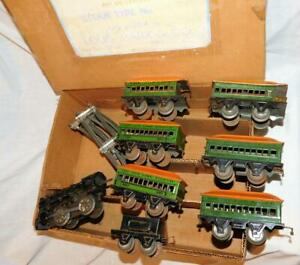 Marx 1930's Joy Line Passenger Set Cast Iron Wind Up Loco + SIX CARS gold trim