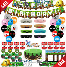 Minecraft Party Supplies Birthday Includes 1 Banner, 20 Balloons And More !
