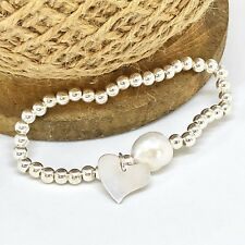 Chunky Silver Bead Stretch Heart Bracelet with Freshwater Pearl Handmade