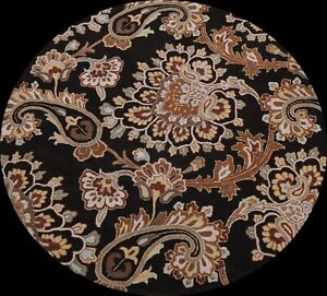 Transitional Floral Paisley Oriental Area Rug Hand-Tufted Wool Round 8x8 Carpet