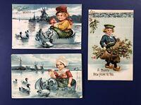 3 Dutch Children New Years Antique Postcards IAP Publ. 1900s For Collectors NICE