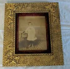 """Antique Aesthetic Beaded Flowers Vines Aged Gilt Picture Frame Fits 8"""" x 10"""""""