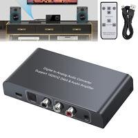 Digital to Analog Audio DAC Converter IR Remote L/R RCA Audio Adapter 3.5mm NEW