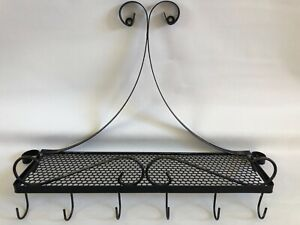 "Scrolled Wrought Iron Shelf Hooks Wall Mounted Distressed Black 18"" Farmhouse"