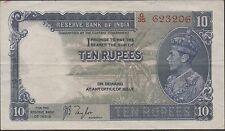 India , 10 Rupees , ND . 1937 , P 19a , Prefix G/35