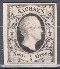 Saxony, Sc#3, VF NG, 1/2 Ngr Black Proof on White card, Mi#3P4, *RARE*