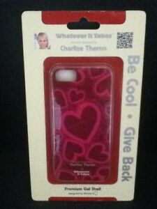Apple iPhone 5 Charlize Theron Red & Pink Hearts Premium Gel Shell WUS-iP5-GCT04