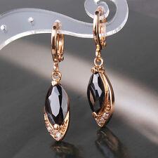 HUCHE Oval Black Sapphire Crystal Dangle Yellow Gold Filled Women Dangle Earring