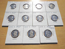1970 1971 1972 - 1978 1979 S Type 1 & 2 Jefferson Nickel 11 Proof Coin Set Lot