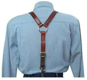 Brown Leather Suspenders Silver Ring Back with scissor snaps