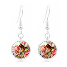 Fairy Dreamcatcher Tibet Silver Dome Photo 16MM Glass Cabochon Long Earrings#119