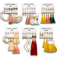 Trendy  6 Pairs Women Ear Studs Long Tassel Drop Earrings Set Fashion Jewelry