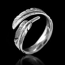 MATERIA 925 Silber Ring Feder antik - Damen Ring silber Federn Gr. 52 - 60