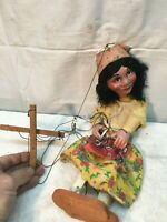 Vintage  Marionette String Puppet Girl Made in Mexico Mid Century Working