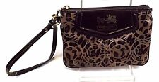 Coach Women Wristlet Brown Signature Fabric Patent Leather Small Wallet Preowned